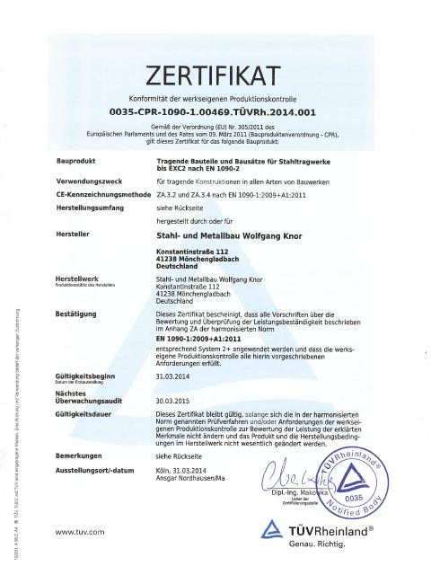 Bescheinigung über die Herstellerqualifikation zum Schweißen von tragenden Bauteilen